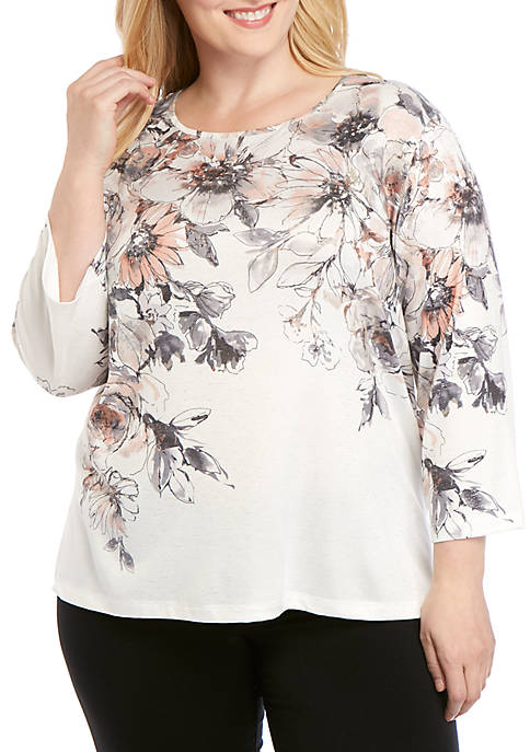Alfred Dunner Plus Size Boardroom Etched Floral Yoke