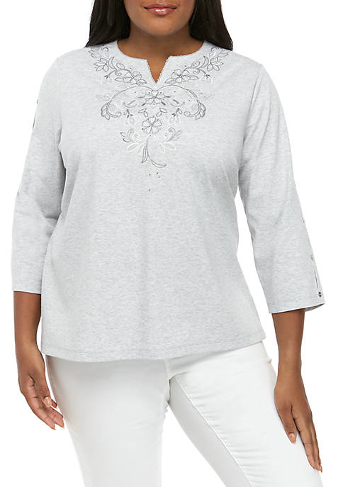 Alfred Dunner Plus Size Boardroom Scroll Yoke Embroidery