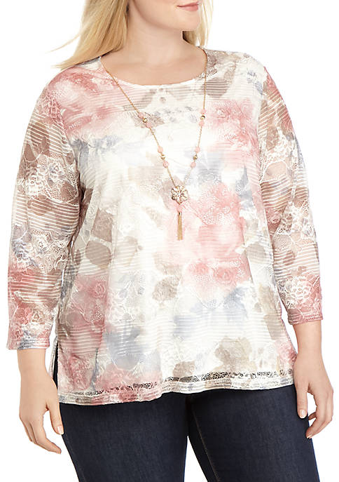 Alfred Dunner Plus Size Boardroom Floral Biadere Texture
