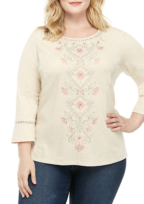 Alfred Dunner Plus Size Boardroom Medallion Center Knit