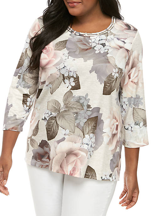 Alfred Dunner Plus Size Boardroom Bold Roses Knit