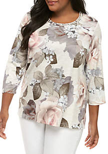 Alfred Dunner Plus Size Boardroom Bold Roses Knit Top