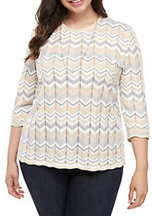 Alfred Dunner Plus Size Boardroom Zig Zag Sweater with Necklace