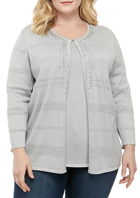 Alfred Dunner Plus Size Boardroom Pointelle 2Fer Sweater
