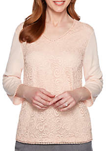 Alfred Dunner Petite Boardroom Lace Front Knit Top