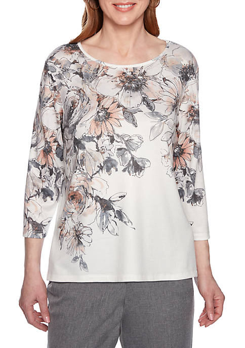 Petite Boardroom Etched Floral Yoke Knit Top