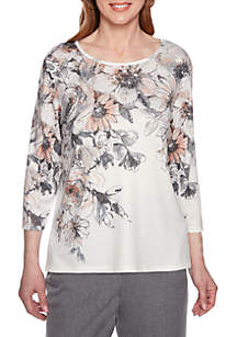 Alfred Dunner Petite Boardroom Etched Floral Yoke Knit Top