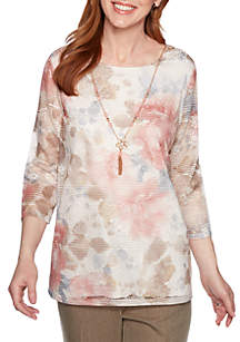 Alfred Dunner Petite Boardroom Floral Biadere Texture Knit Top