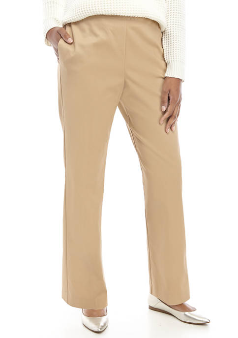 Alfred Dunner Womens Straight Seam Pull On Pants