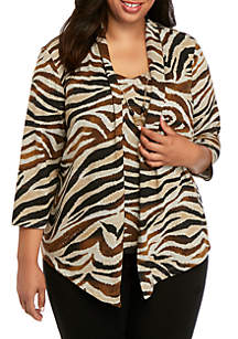 Alfred Dunner Plus Size Street Smart Zebra Print Knit 2Fer Top
