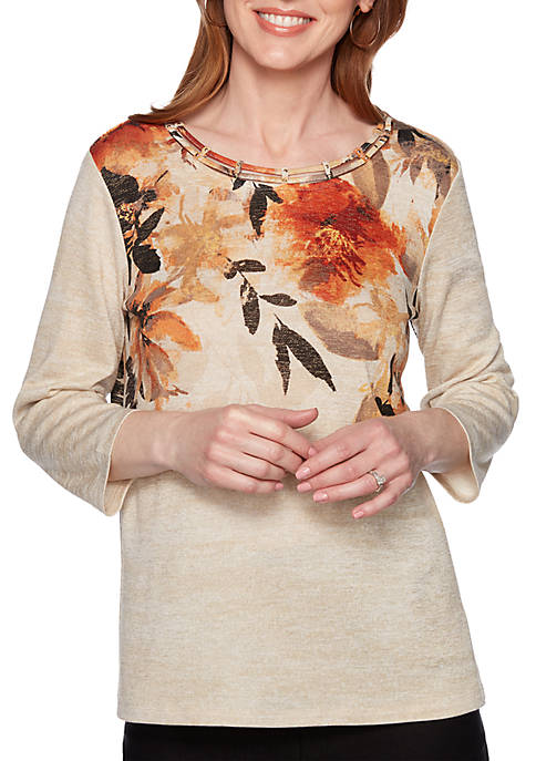 Alfred Dunner Street Smart Embroidered Floral Yoke Knit
