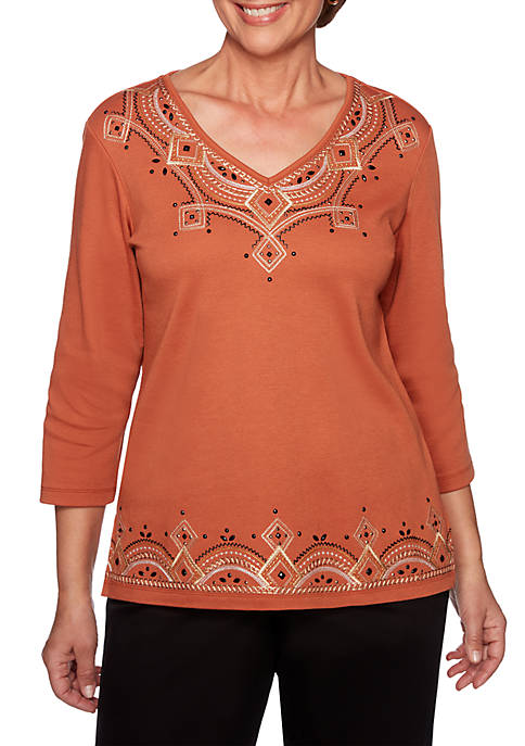 Alfred Dunner Street Smart Geometric Embroidered Knit Top
