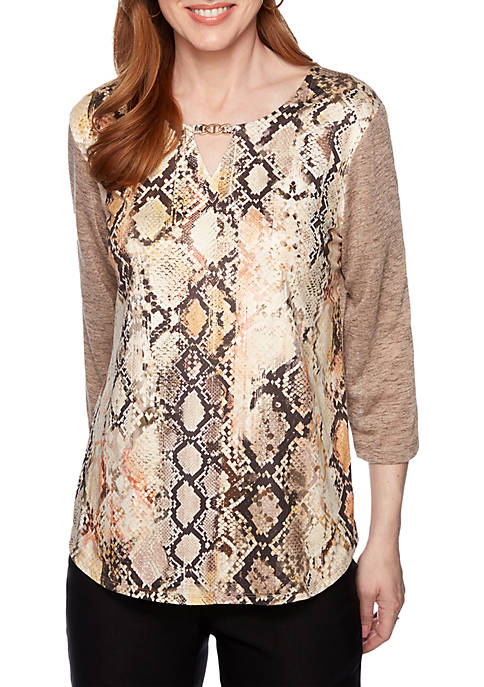 Alfred Dunner Street Smart Faux Suede Snakeskin Print