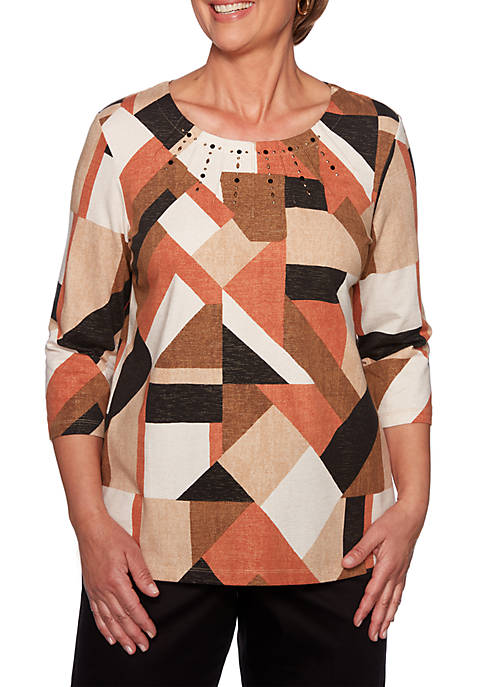 Alfred Dunner Street Smart Geometric Color Block KnIt