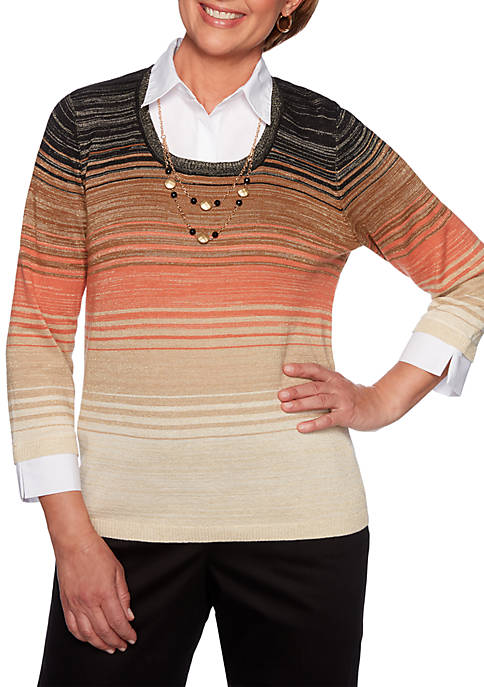 Alfred Dunner Street Smart Ombre Striped 2Fer Sweater