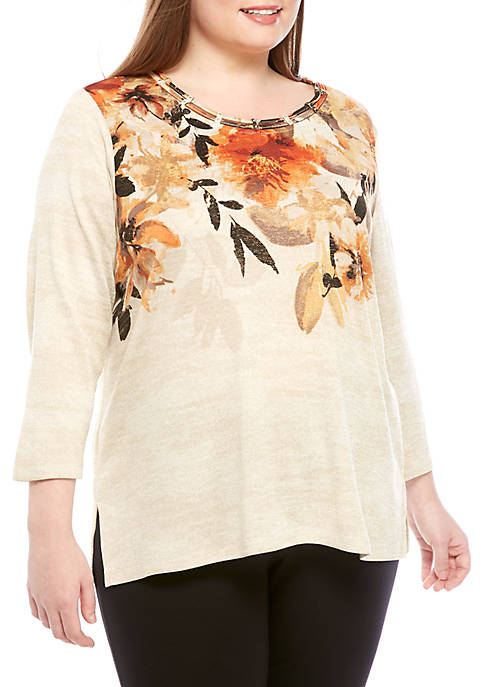 Alfred Dunner Plus Size Street Smart Watercolor Floral