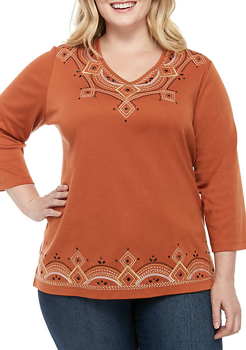 Alfred Dunner Plus Size Street Smart Geometric Embroidery