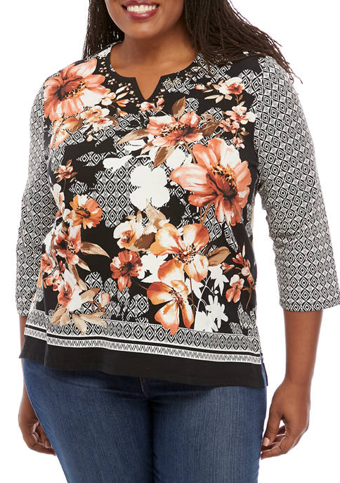 Alfred Dunner Plus Size Geometric Floral Border Knit