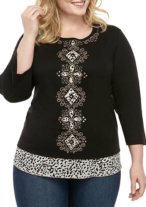 Alfred Dunner Plus Size Street Smart Medallion with