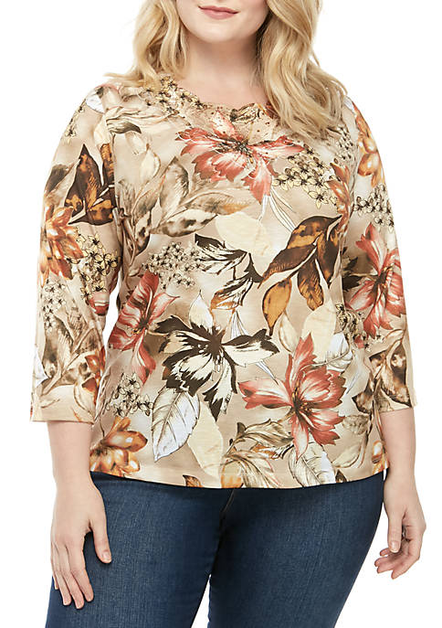 Alfred Dunner Plus Size Street Smart 3/4 Sleeve