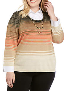 Alfred Dunner Plus Size Street Smart Ombre 2Fer Sweater