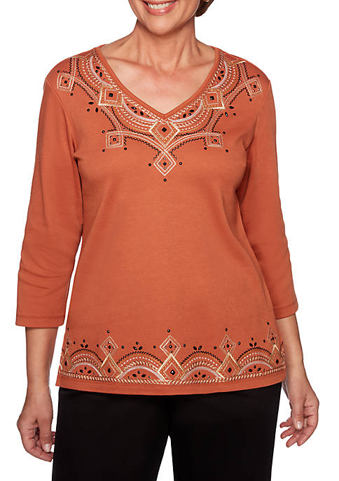 Alfred Dunner Petite Street Smart Geometric Embroidered Knit