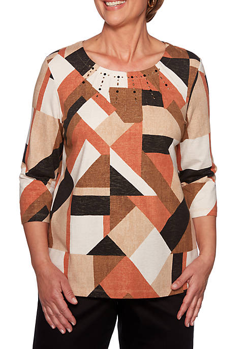 Alfred Dunner Petite Street Smart Geometric Color Block