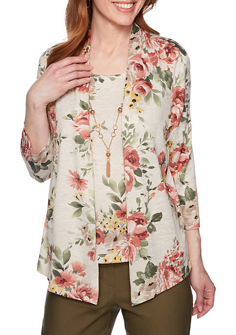 Alfred Dunner Cedar Canyon Floral 2Fer Knit Top