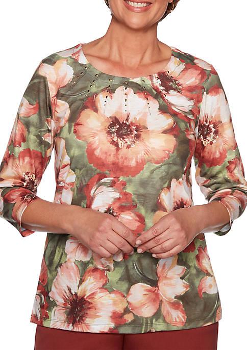 Alfred Dunner Cedar Canyon Bold Flower Knit Top