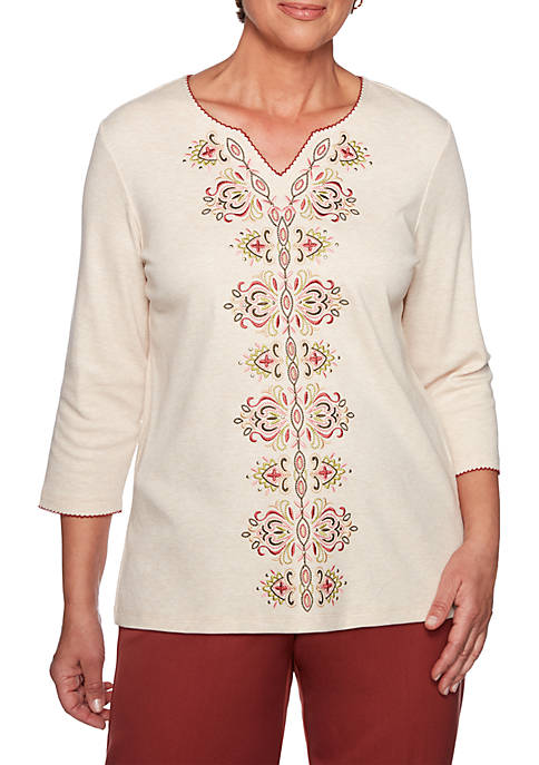 Alfred Dunner Cedar Canyon Embroidered Split Neck Knit