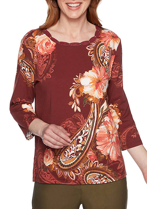 Alfred Dunner Cedar Canyon Paisley Floral Knit Top