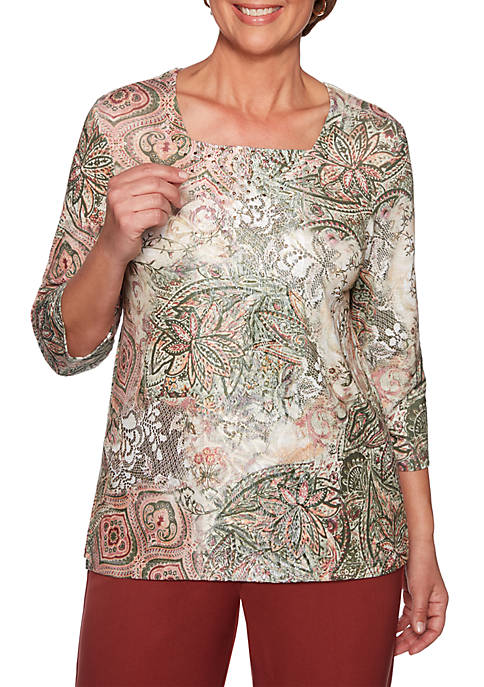 Alfred Dunner Cedar Canyon Medallion Lace Patch Knit
