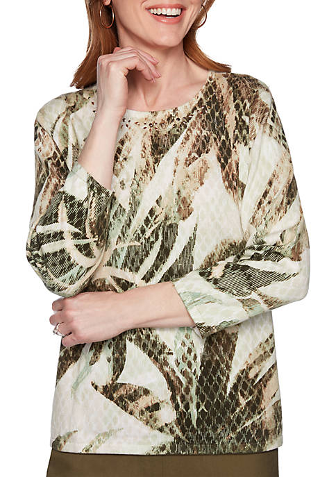 Alfred Dunner Cedar Canyon Palm Leaf Pullover