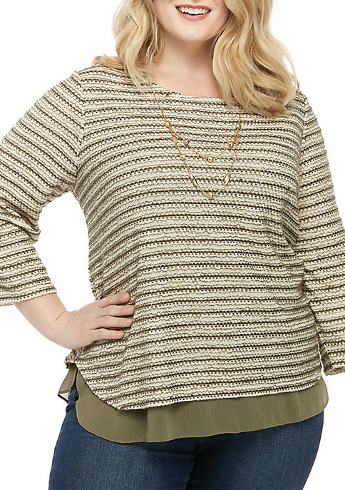 Alfred Dunner Plus Size Cedar Canyon Textured Top