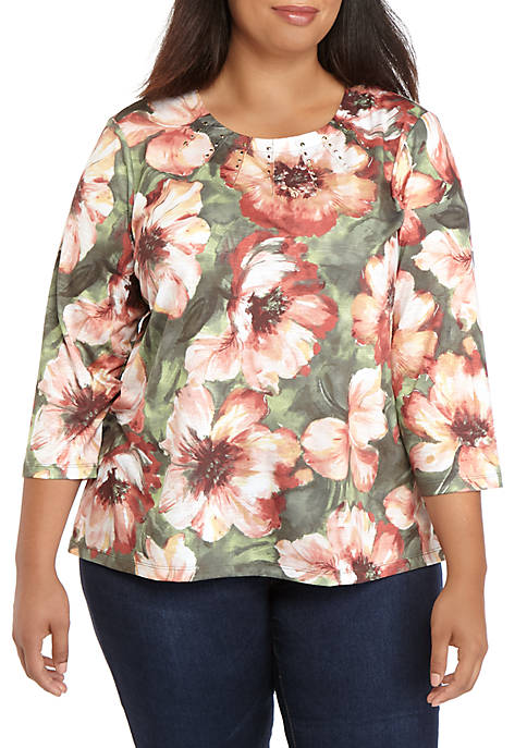 Alfred Dunner Plus Size Cedar Canyon Bold Flowers