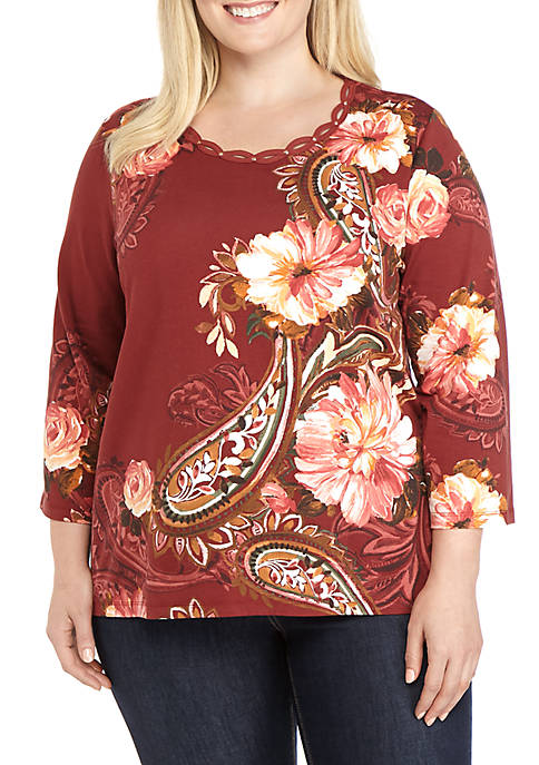 Alfred Dunner Plus Size Paisley Floral Asymmetrical Knit