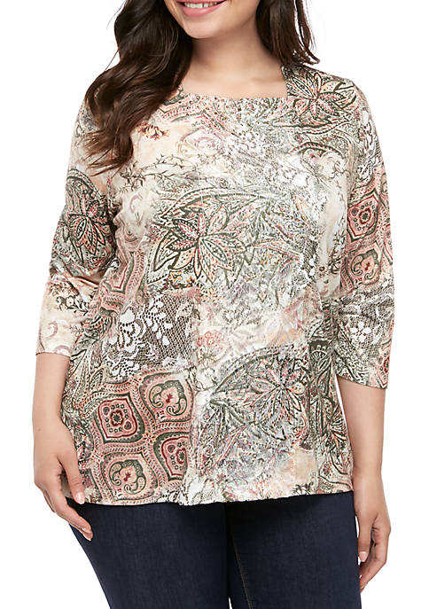 Alfred Dunner Plus Size Cedar Canyon Medallion Lace