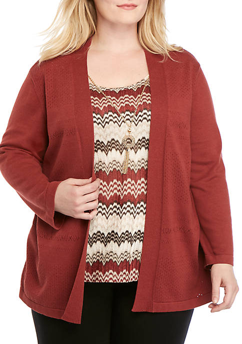 Alfred Dunner Plus Size Cedar Canyon Zigzag Pointelle