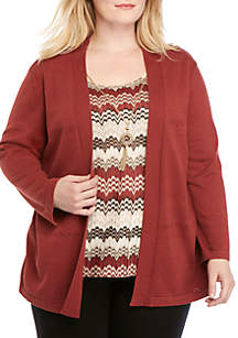 Alfred Dunner Plus Size Cedar Canyon Zigzag Pointelle 2Fer Sweater