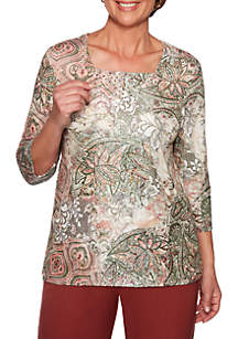 Alfred Dunner Petite Cedar Canyon Medallion Lace Patch Knit Top