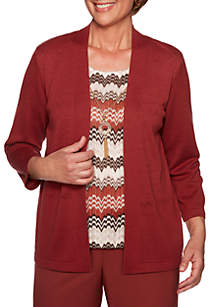 Alfred Dunner Petite Cedar Canyon Zig Zag Two For One Sweater