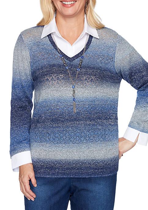 Alfred Dunner Autumn Harvest Space Dye 2Fer Sweater