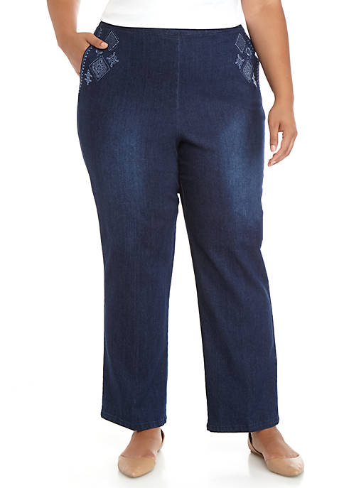 Alfred Dunner Plus Size Autumn Harvest Embroidered Jeans
