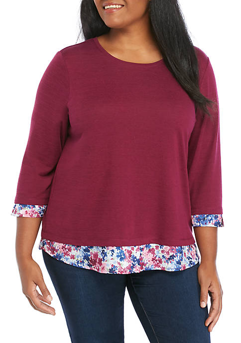 Plus Size 2Fer with Printed Trim