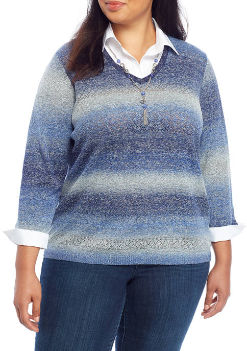 Alfred Dunner Plus Size Ombre Space Dye 2Fer