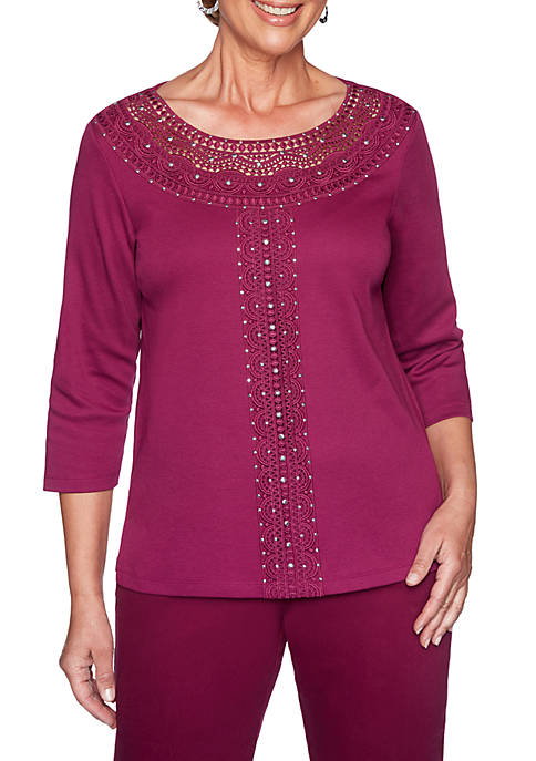 Alfred Dunner Petite Autumn Harvest Lace Yoke Solid