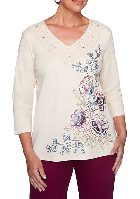 Alfred Dunner Petite Autumn Harvest Embroidered Asymmetric Floral