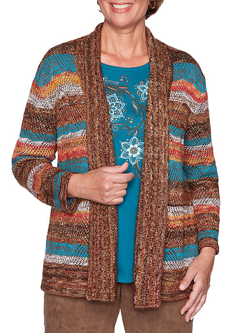Alfred Dunner Walnut Grove Striped Pointelle Cardigan