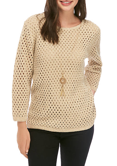 Alfred Dunner Pointelle Sweater with Necklace
