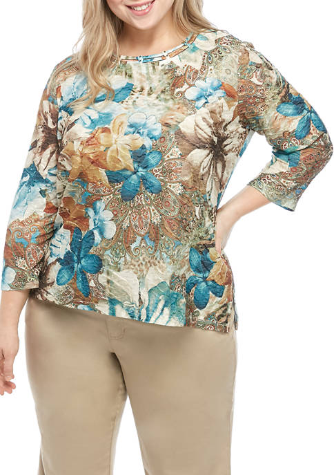 Alfred Dunner Plus Size Walnut Grove Texture Floral